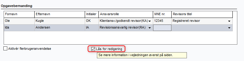 Lås for redigering